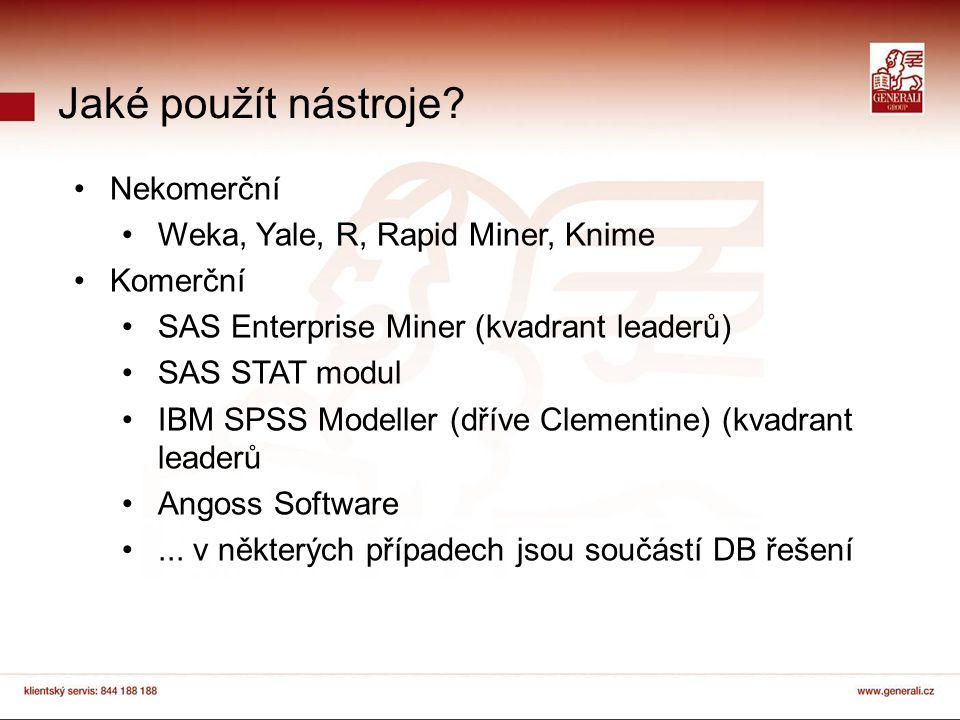 Jaké použít nástroje? Nekomerční Weka, Yale, R, Rapid Miner, Knime Komerční SAS Enterprise Miner (kvadrant leaderů) SAS STAT modul IBM SPSS Modeller (