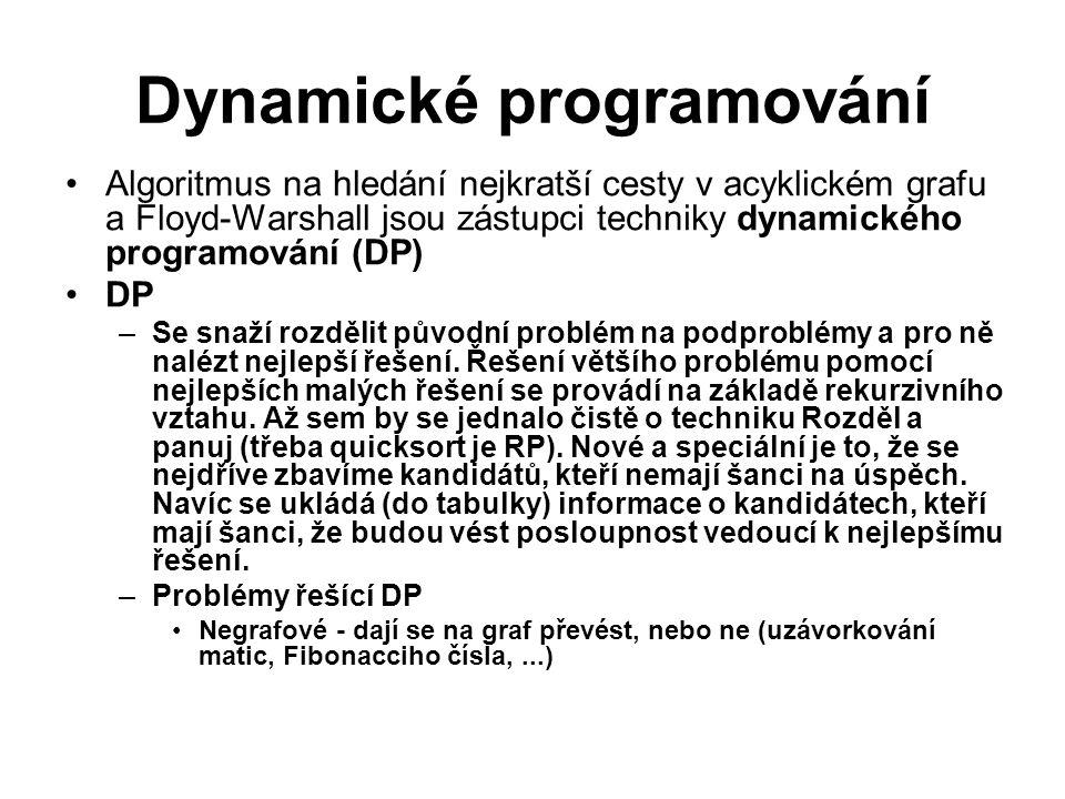 Dynamické programování Algoritmus na hledání nejkratší cesty v acyklickém grafu a Floyd-Warshall jsou zástupci techniky dynamického programování (DP)