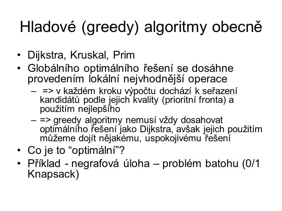 Hladové (greedy) algoritmy obecně Dijkstra, Kruskal, Prim Globálního optimálního řešení se dosáhne provedením lokální nejvhodnější operace – => v každ