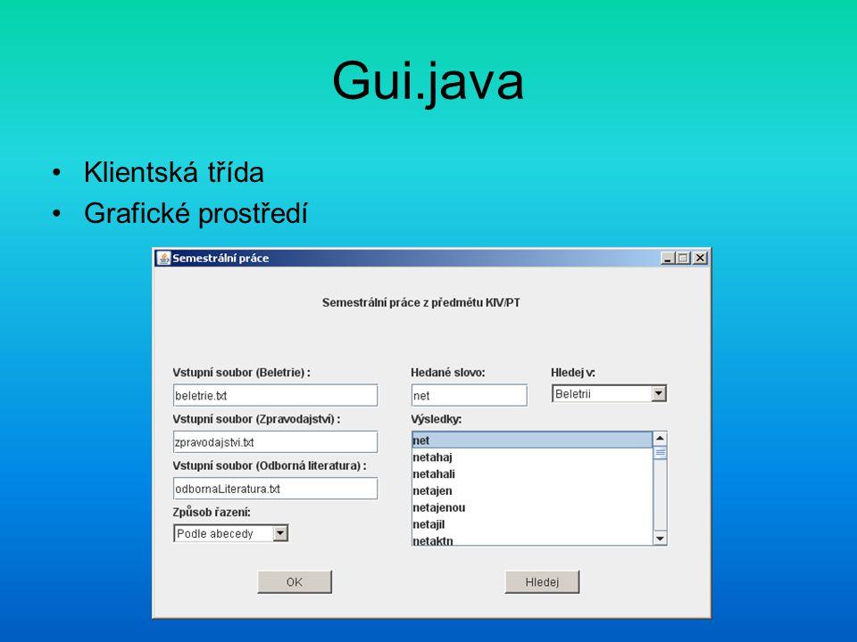 Gui.java Klientská třída Grafické prostředí