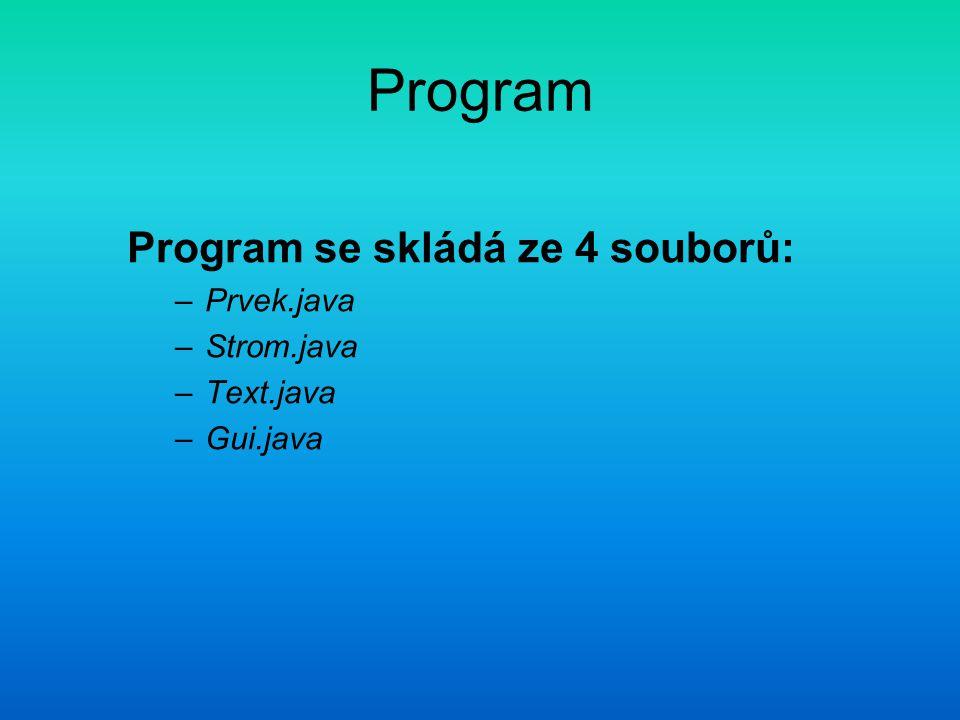 Program Program se skládá ze 4 souborů: –Prvek.java –Strom.java –Text.java –Gui.java
