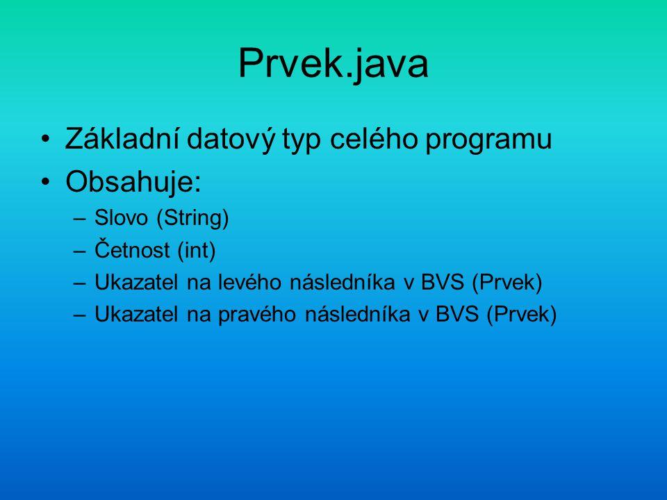 Prvek.java Základní datový typ celého programu Obsahuje: –Slovo (String) –Četnost (int) –Ukazatel na levého následníka v BVS (Prvek) –Ukazatel na pravého následníka v BVS (Prvek)