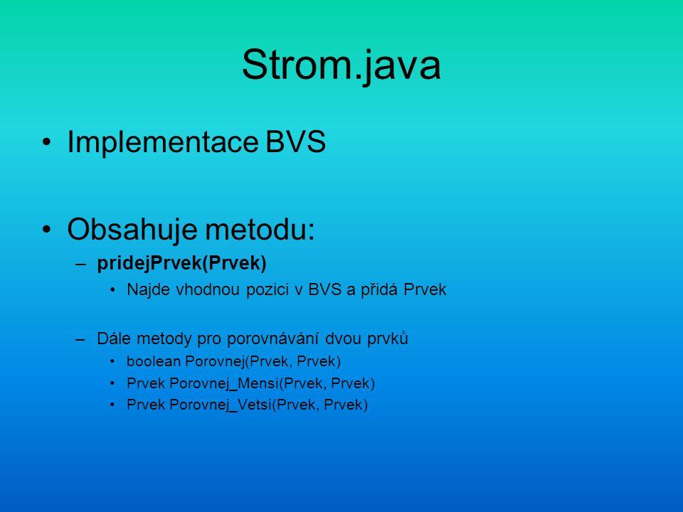 Strom.java Implementace BVS Obsahuje metodu: –pridejPrvek(Prvek) Najde vhodnou pozici v BVS a přidá Prvek –Dále metody pro porovnávání dvou prvků boolean Porovnej(Prvek, Prvek) Prvek Porovnej_Mensi(Prvek, Prvek) Prvek Porovnej_Vetsi(Prvek, Prvek)
