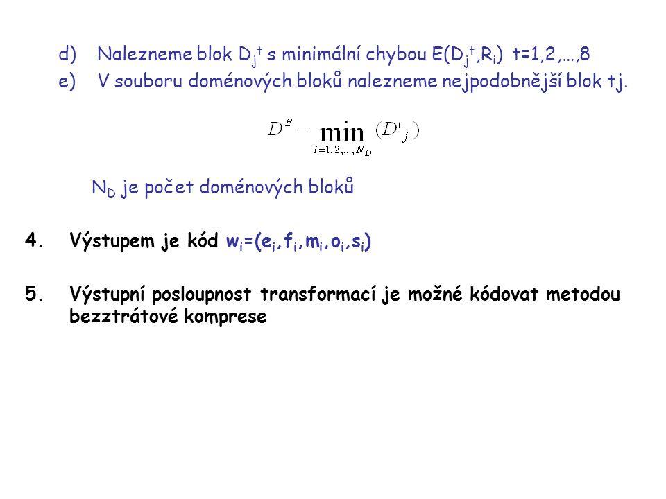 d)Nalezneme blok D j t s minimální chybou E(D j t,R i ) t=1,2,…,8 e)V souboru doménových bloků nalezneme nejpodobnější blok tj.