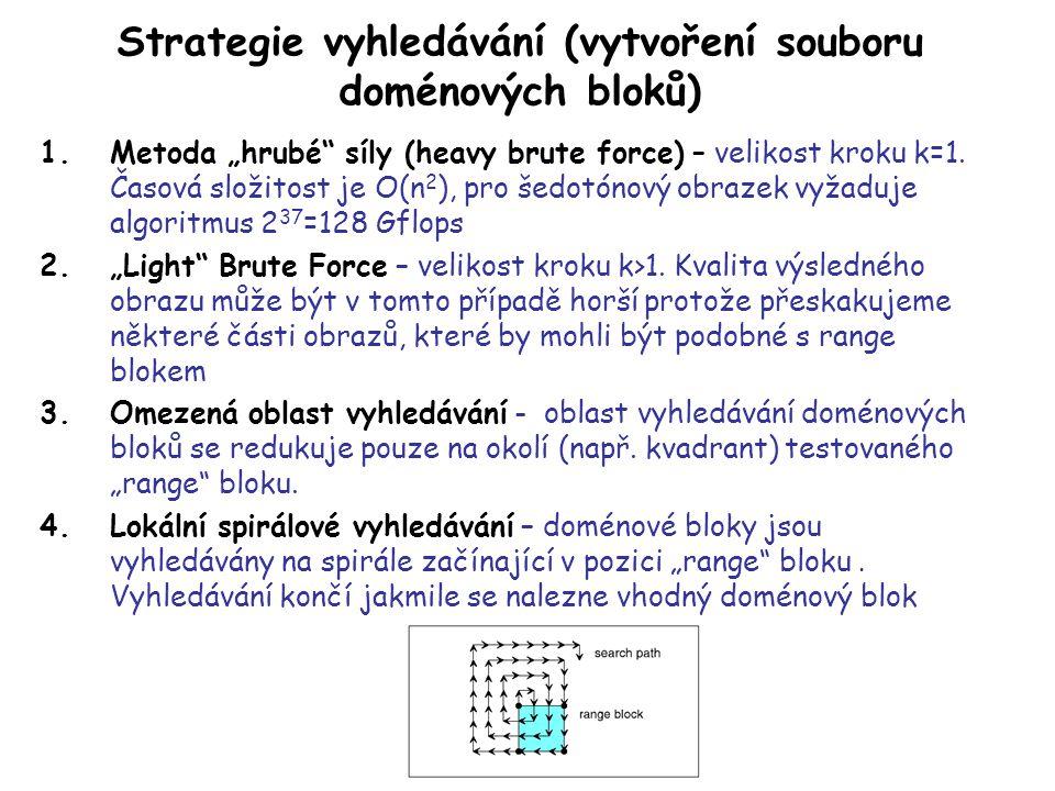 """Strategie vyhledávání (vytvoření souboru doménových bloků) 1.Metoda """"hrubé síly (heavy brute force) – velikost kroku k=1."""