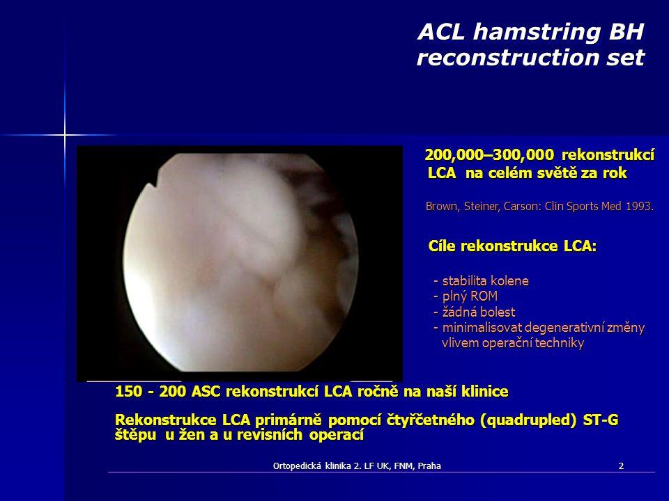 Ortopedická klinika 2. LF UK, FNM, Praha2 150 - 200 ASC rekonstrukcí LCA ročně na naší klinice Rekonstrukce LCA primárně pomocí čtyřčetného (quadruple