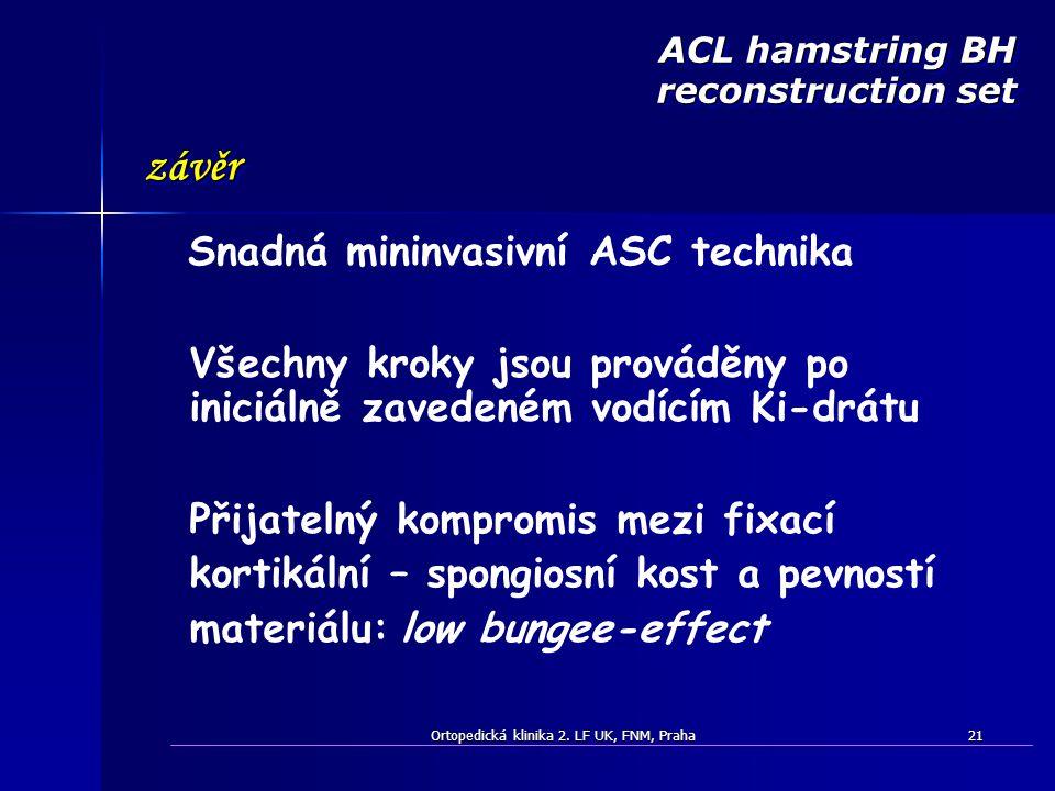 Ortopedická klinika 2. LF UK, FNM, Praha21 Všechny kroky jsou prováděny po iniciálně zavedeném vodícím Ki-drátu Snadná mininvasivní ASC technika závěr
