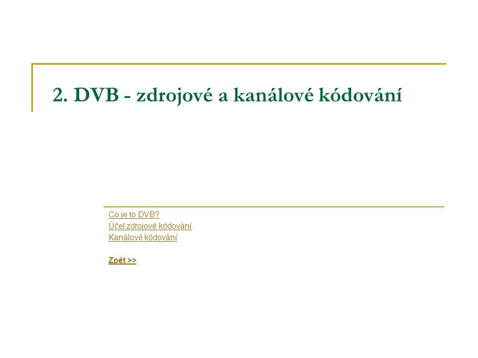 2. DVB - zdrojové a kanálové kódování Co je to DVB.