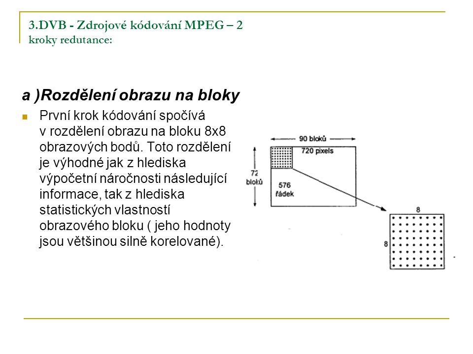 3.DVB - Zdrojové kódování MPEG – 2 kroky redutance: a )Rozdělení obrazu na bloky První krok kódování spočívá v rozdělení obrazu na bloku 8x8 obrazových bodů.