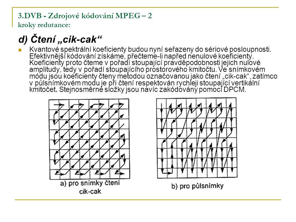 """3.DVB - Zdrojové kódování MPEG – 2 kroky redutance: d) Čtení """"cik-cak Kvantové spektrální koeficienty budou nyní seřazeny do sériové posloupnosti."""
