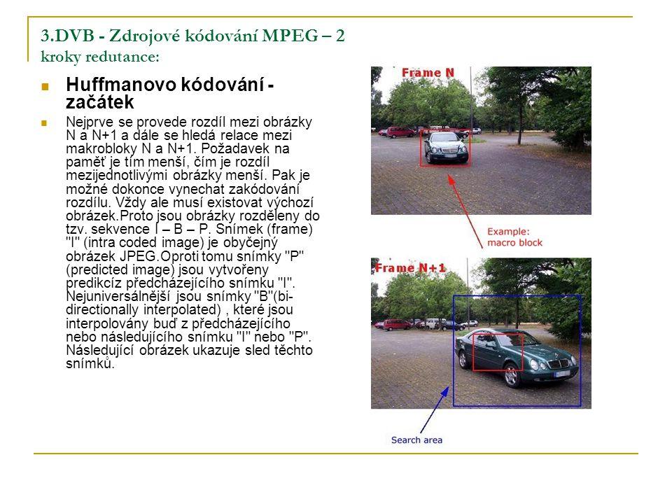 3.DVB - Zdrojové kódování MPEG – 2 kroky redutance: Huffmanovo kódování - začátek Nejprve se provede rozdíl mezi obrázky N a N+1 a dále se hledá relace mezi makrobloky N a N+1.