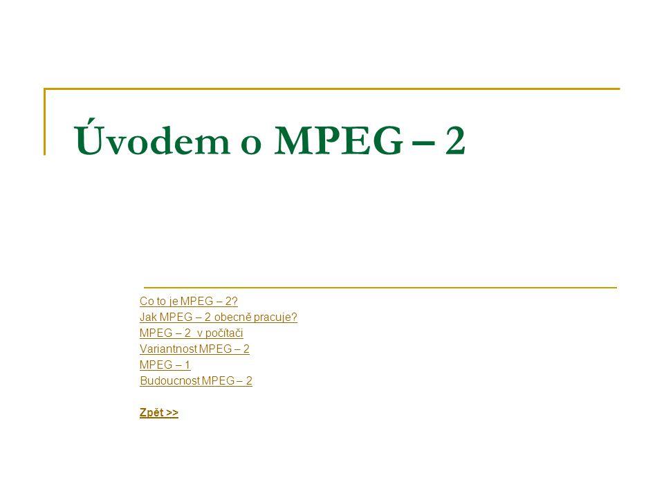 Úvodem o MPEG – 2 Co to je MPEG – 2. Jak MPEG – 2 obecně pracuje.