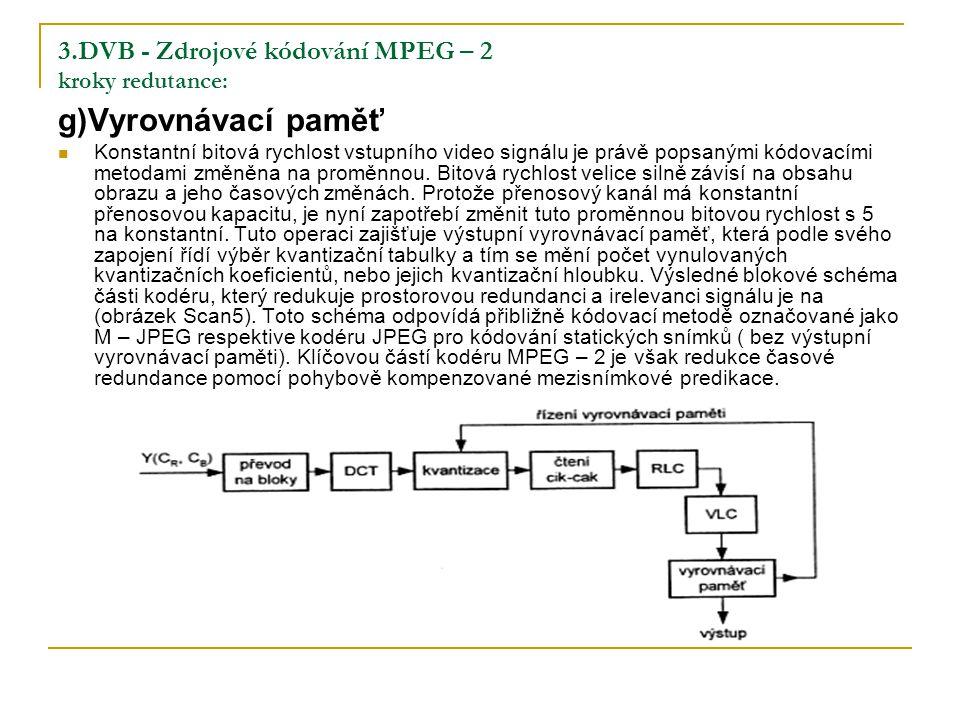 3.DVB - Zdrojové kódování MPEG – 2 kroky redutance: g)Vyrovnávací paměť Konstantní bitová rychlost vstupního video signálu je právě popsanými kódovacími metodami změněna na proměnnou.