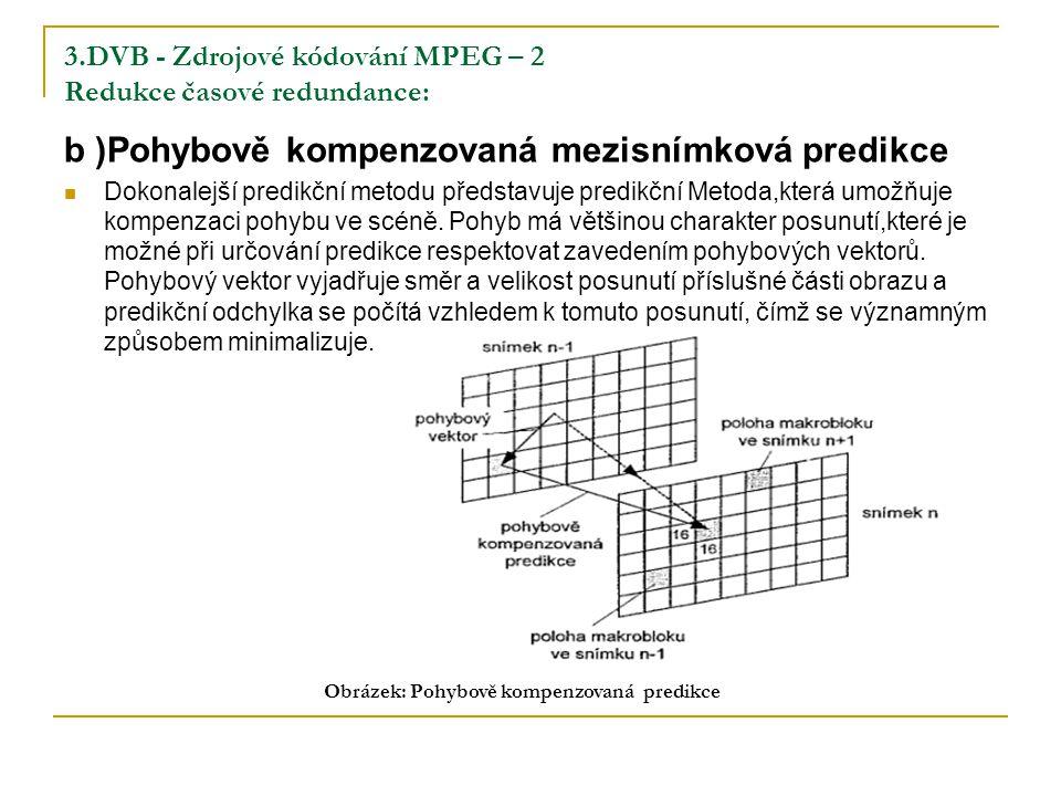 3.DVB - Zdrojové kódování MPEG – 2 Redukce časové redundance: b )Pohybově kompenzovaná mezisnímková predikce Dokonalejší predikční metodu představuje predikční Metoda,která umožňuje kompenzaci pohybu ve scéně.
