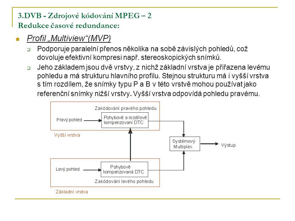 """3.DVB - Zdrojové kódování MPEG – 2 Redukce časové redundance: Profil """"Multiview (MVP)  Podporuje paralelní přenos několika na sobě závislých pohledů, což dovoluje efektivní kompresi např."""