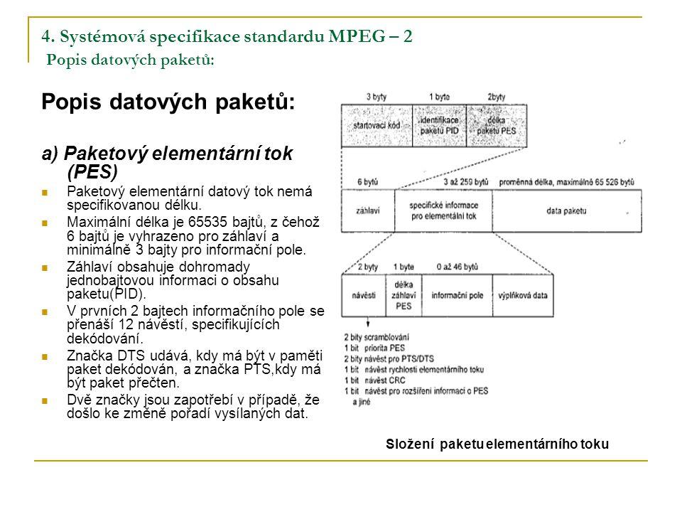 4. Systémová specifikace standardu MPEG – 2 Popis datových paketů: Popis datových paketů: a) Paketový elementární tok (PES) Paketový elementární datov