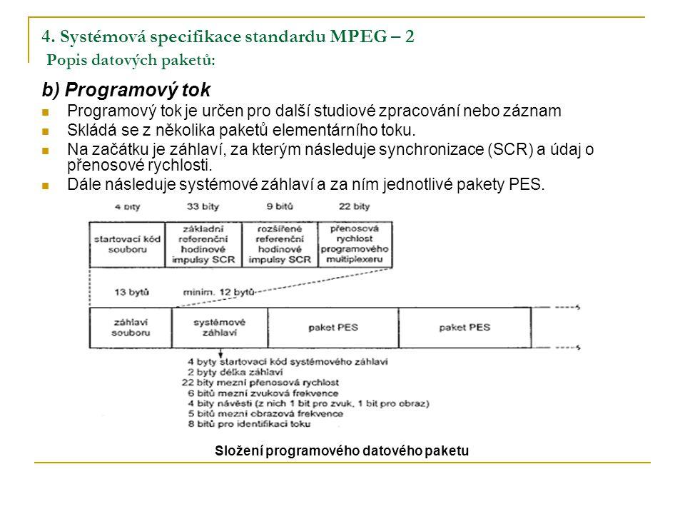 4. Systémová specifikace standardu MPEG – 2 Popis datových paketů: b) Programový tok Programový tok je určen pro další studiové zpracování nebo záznam