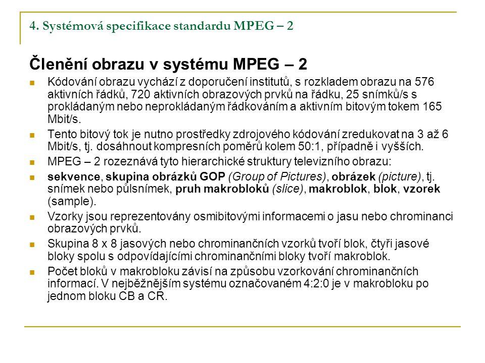 4. Systémová specifikace standardu MPEG – 2 Členění obrazu v systému MPEG – 2 Kódování obrazu vychází z doporučení institutů, s rozkladem obrazu na 57