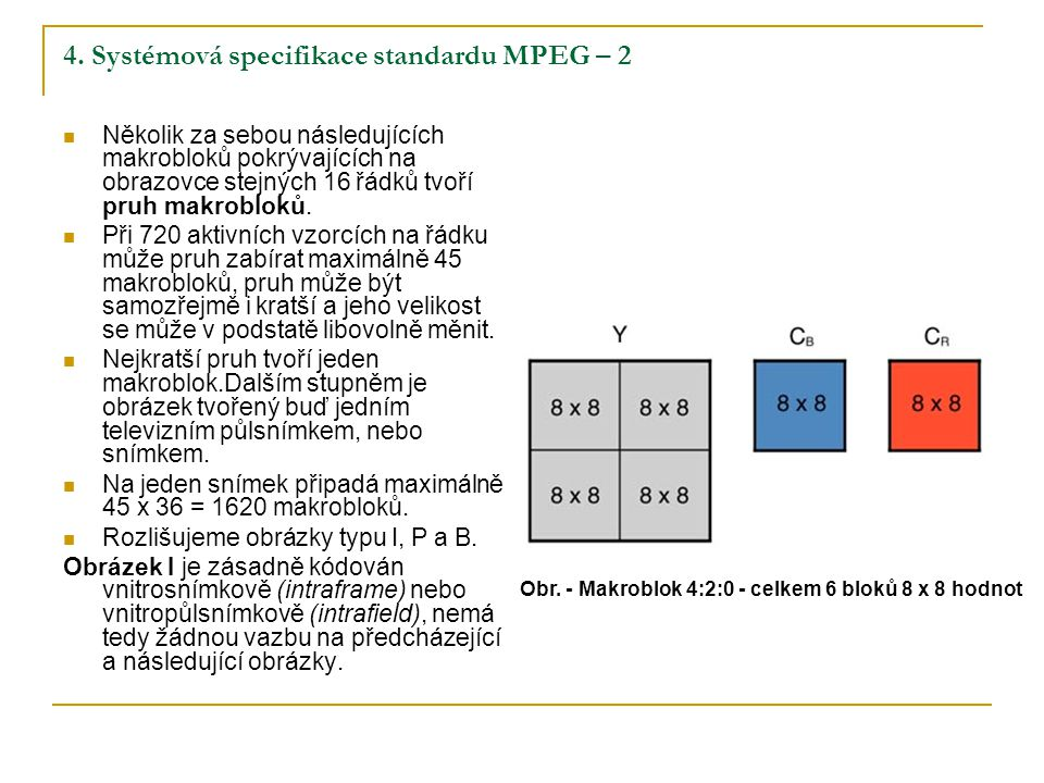 4. Systémová specifikace standardu MPEG – 2 Několik za sebou následujících makrobloků pokrývajících na obrazovce stejných 16 řádků tvoří pruh makroblo