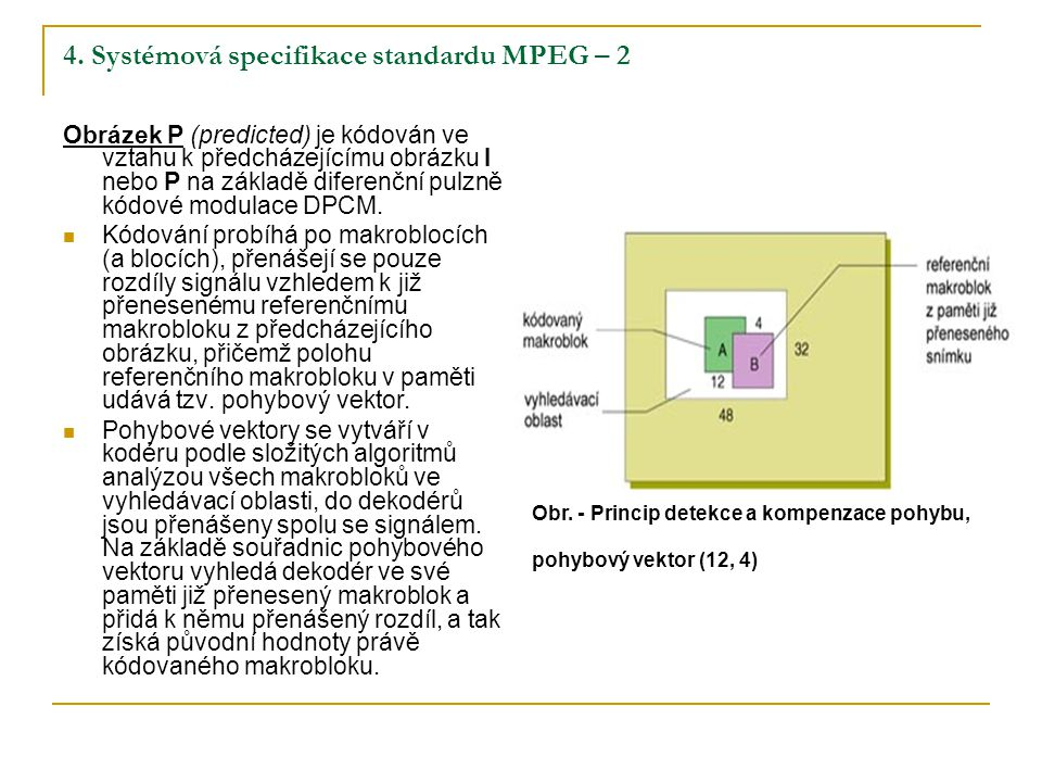 4. Systémová specifikace standardu MPEG – 2 Obrázek P (predicted) je kódován ve vztahu k předcházejícímu obrázku I nebo P na základě diferenční pulzně