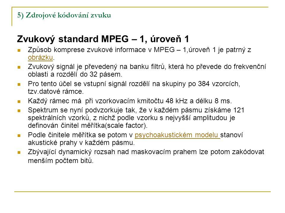 5) Zdrojové kódování zvuku Zvukový standard MPEG – 1, úroveň 1 Způsob komprese zvukové informace v MPEG – 1,úroveň 1 je patrný z obrázku.