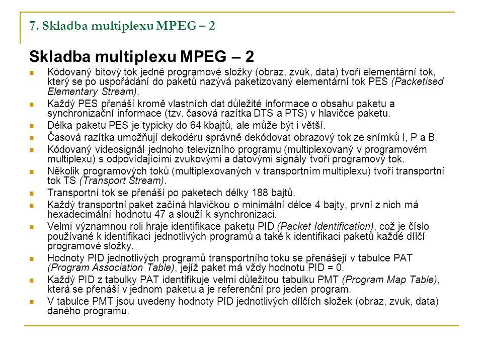 7. Skladba multiplexu MPEG – 2 Skladba multiplexu MPEG – 2 Kódovaný bitový tok jedné programové složky (obraz, zvuk, data) tvoří elementární tok, kter