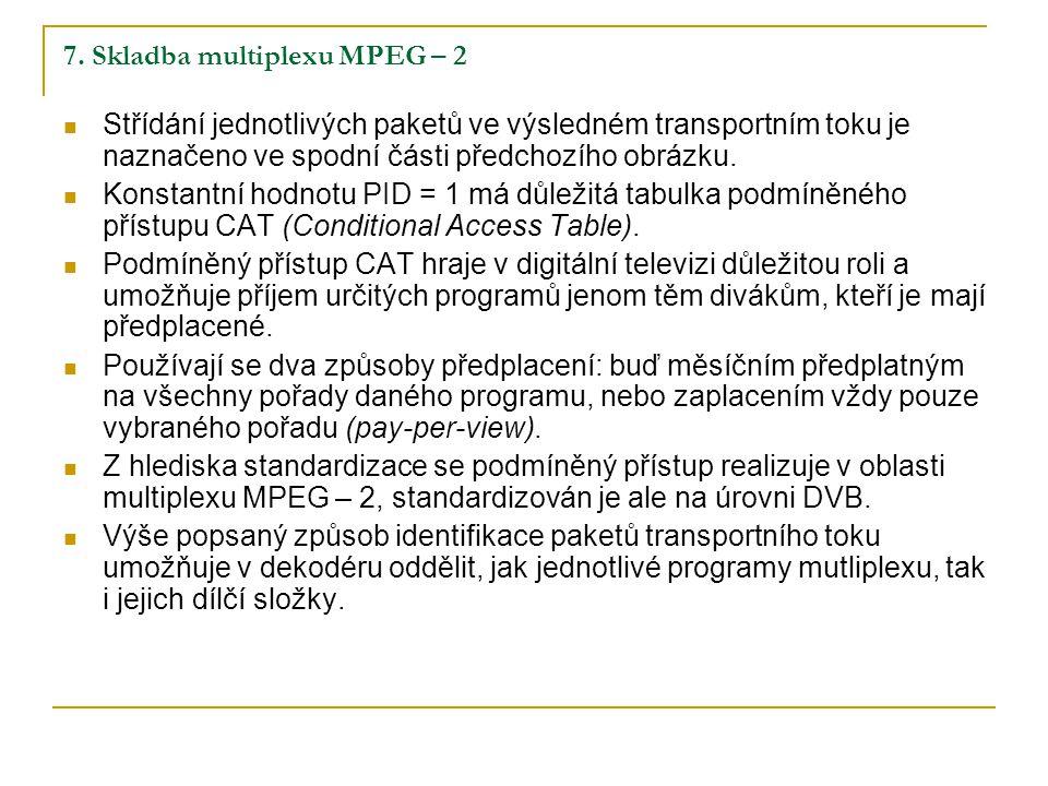 7. Skladba multiplexu MPEG – 2 Střídání jednotlivých paketů ve výsledném transportním toku je naznačeno ve spodní části předchozího obrázku. Konstantn