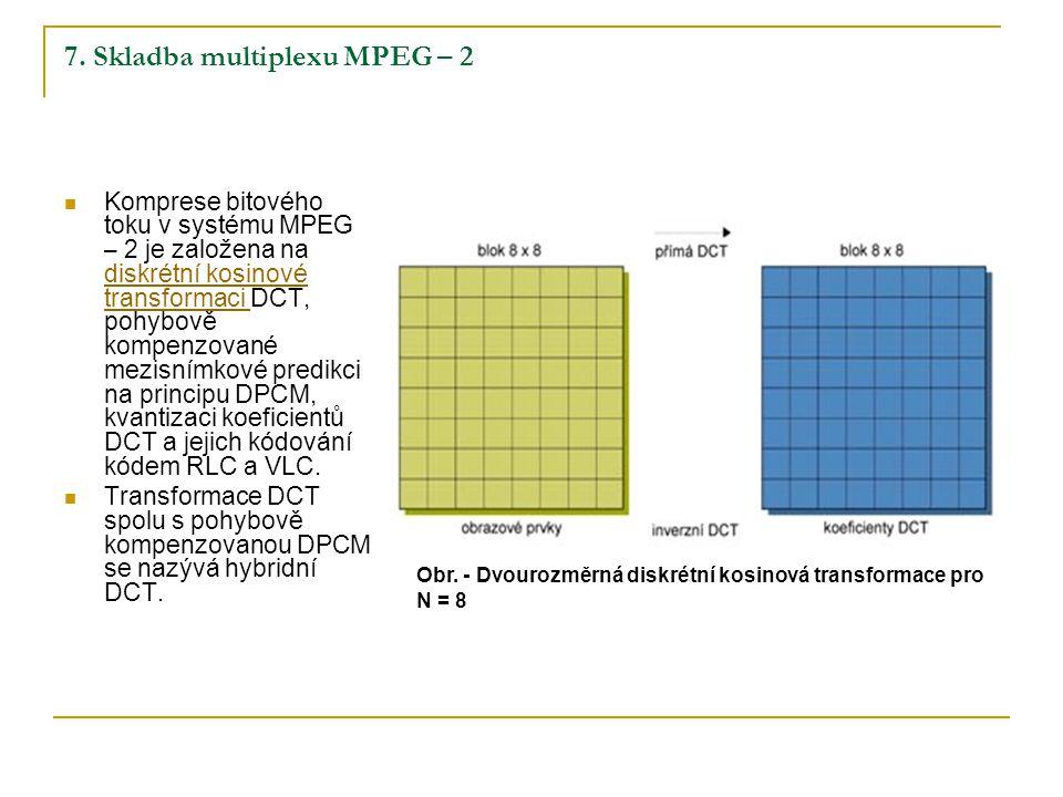 7. Skladba multiplexu MPEG – 2 Komprese bitového toku v systému MPEG – 2 je založena na diskrétní kosinové transformaci DCT, pohybově kompenzované mez