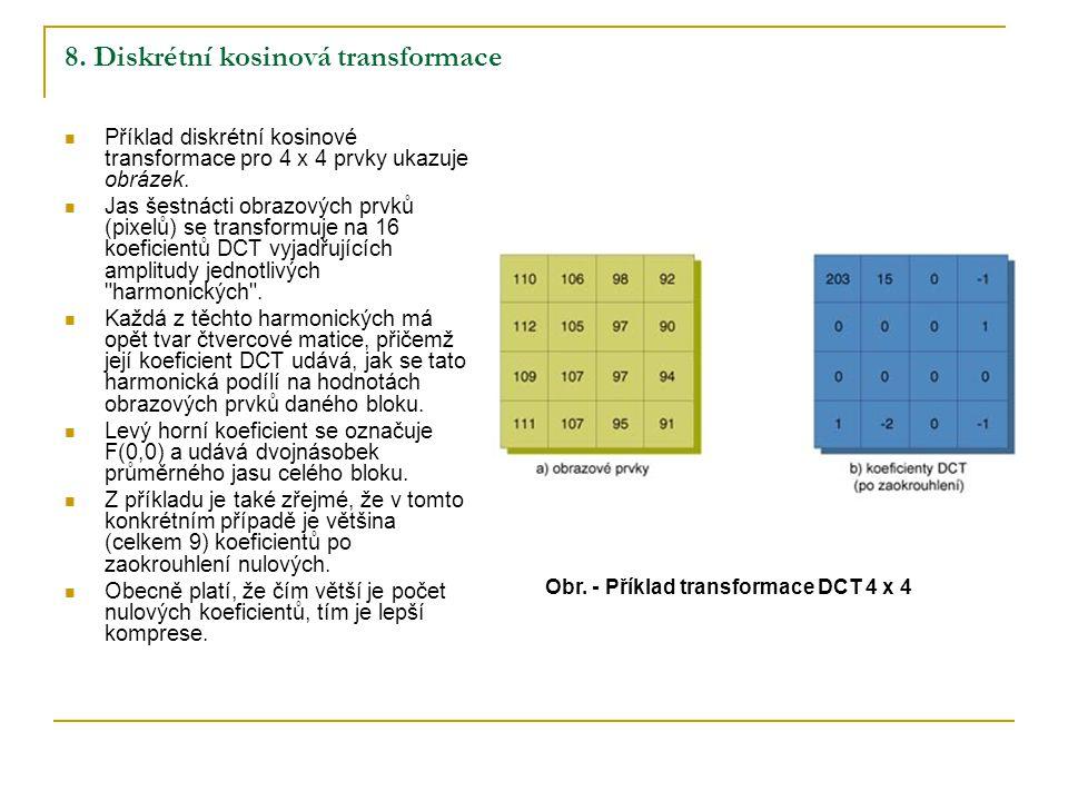 8. Diskrétní kosinová transformace Příklad diskrétní kosinové transformace pro 4 x 4 prvky ukazuje obrázek. Jas šestnácti obrazových prvků (pixelů) se