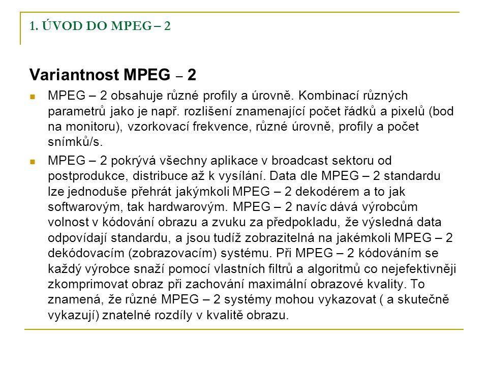 1.ÚVOD DO MPEG – 2 Variantnost MPEG – 2 MPEG – 2 obsahuje různé profily a úrovně.