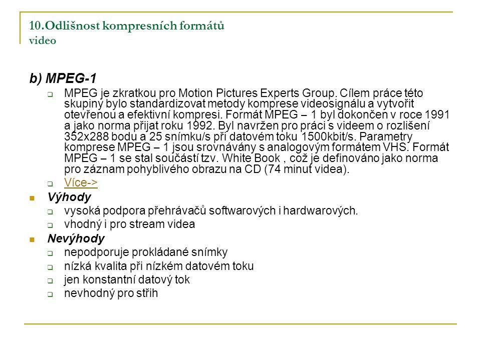 10.Odlišnost kompresních formátů video b) MPEG-1  MPEG je zkratkou pro Motion Pictures Experts Group.