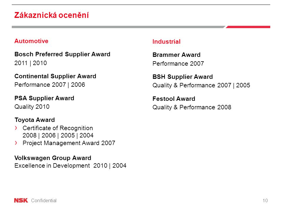 Confidential Zákaznická ocenění Automotive Bosch Preferred Supplier Award 2011 | 2010 Continental Supplier Award Performance 2007 | 2006 PSA Supplier