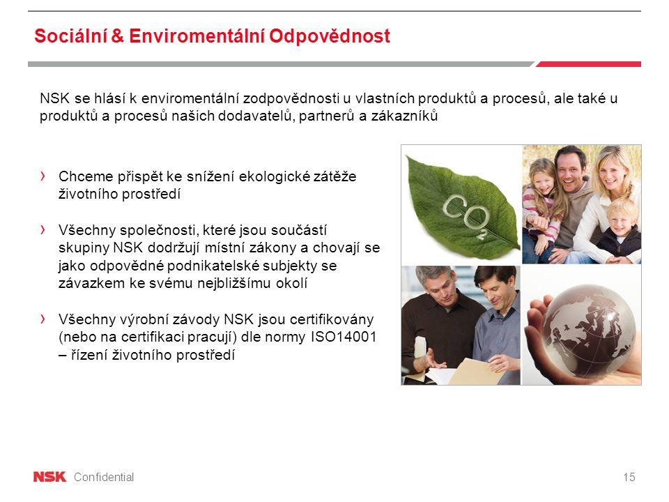 Confidential Sociální & Enviromentální Odpovědnost NSK se hlásí k enviromentální zodpovědnosti u vlastních produktů a procesů, ale také u produktů a procesů našich dodavatelů, partnerů a zákazníků › Chceme přispět ke snížení ekologické zátěže životního prostředí › Všechny společnosti, které jsou součástí skupiny NSK dodržují místní zákony a chovají se jako odpovědné podnikatelské subjekty se závazkem ke svému nejbližšímu okolí › Všechny výrobní závody NSK jsou certifikovány (nebo na certifikaci pracují) dle normy ISO14001 – řízení životního prostředí 15
