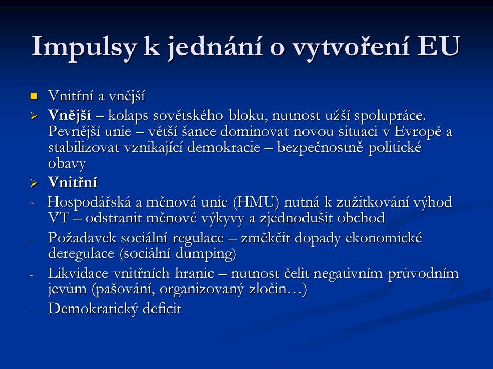 Impulsy k jednání o vytvoření EU Vnitřní a vnější Vnitřní a vnější  Vnější – kolaps sovětského bloku, nutnost užší spolupráce. Pevnější unie – větší