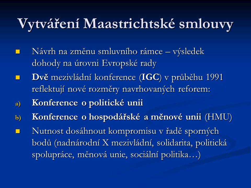 Vytváření Maastrichtské smlouvy Návrh na změnu smluvního rámce – výsledek dohody na úrovni Evropské rady Návrh na změnu smluvního rámce – výsledek doh