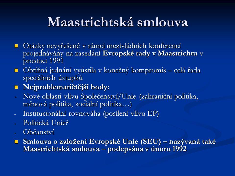 Maastrichtská smlouva Otázky nevyřešené v rámci mezivládních konferencí projednávány na zasedání Evropské rady v Maastrichtu v prosinci 1991 Otázky ne
