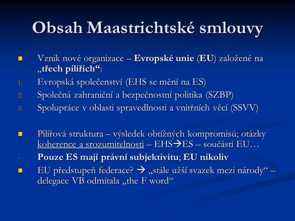 """Obsah Maastrichtské smlouvy Vznik nové organizace – Evropské unie (EU) založené na """"třech pilířích"""": Vznik nové organizace – Evropské unie (EU) založe"""