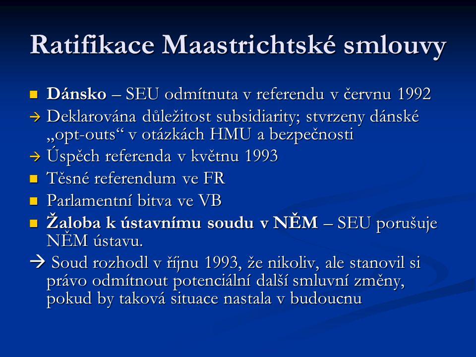 Ratifikace Maastrichtské smlouvy Dánsko – SEU odmítnuta v referendu v červnu 1992 Dánsko – SEU odmítnuta v referendu v červnu 1992  Deklarována důlež