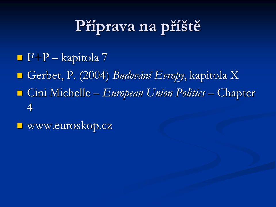 Příprava na příště F+P – kapitola 7 F+P – kapitola 7 Gerbet, P. (2004) Budování Evropy, kapitola X Gerbet, P. (2004) Budování Evropy, kapitola X Cini