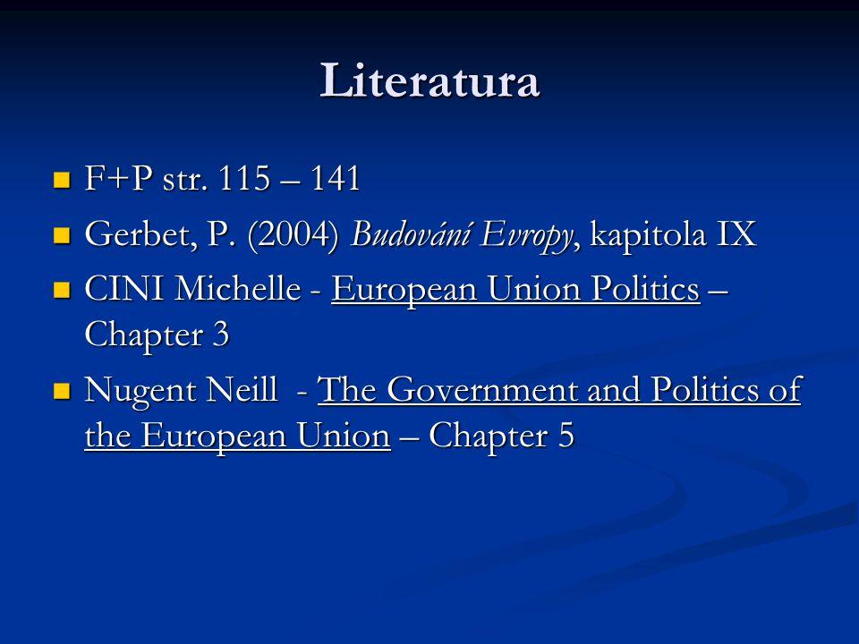 Literatura F+P str. 115 – 141 F+P str. 115 – 141 Gerbet, P. (2004) Budování Evropy, kapitola IX Gerbet, P. (2004) Budování Evropy, kapitola IX CINI Mi