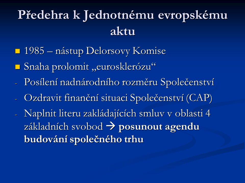 """Předehra k Jednotnému evropskému aktu 1985 – nástup Delorsovy Komise 1985 – nástup Delorsovy Komise Snaha prolomit """"eurosklerózu"""" Snaha prolomit """"euro"""
