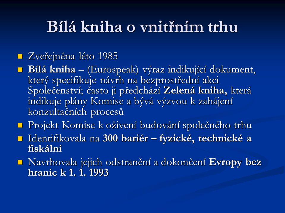 Bílá kniha o vnitřním trhu Zveřejněna léto 1985 Zveřejněna léto 1985 Bílá kniha – (Eurospeak) výraz indikující dokument, který specifikuje návrh na be