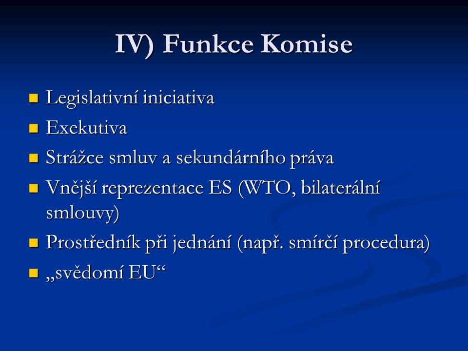 IV) Funkce Komise Legislativní iniciativa Legislativní iniciativa Exekutiva Exekutiva Strážce smluv a sekundárního práva Strážce smluv a sekundárního práva Vnější reprezentace ES (WTO, bilaterální smlouvy) Vnější reprezentace ES (WTO, bilaterální smlouvy) Prostředník při jednání (např.