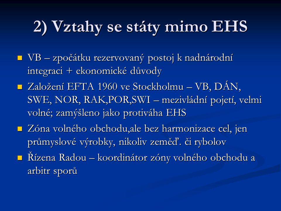 2) Vztahy se státy mimo EHS VB – zpočátku rezervovaný postoj k nadnárodní integraci + ekonomické důvody VB – zpočátku rezervovaný postoj k nadnárodní