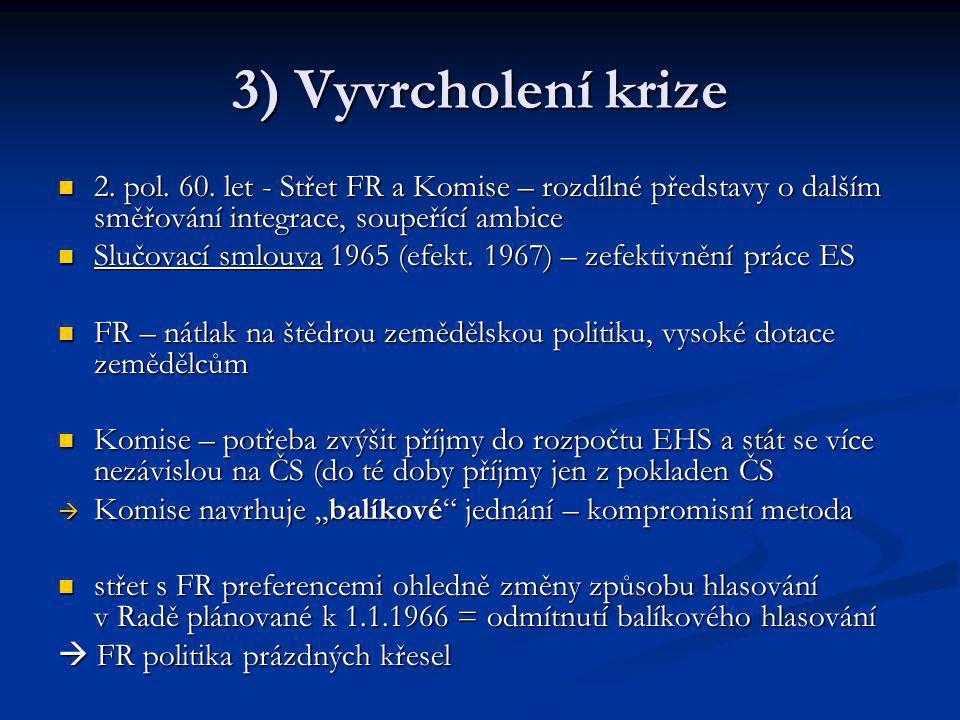 3) Vyvrcholení krize 2. pol. 60. let - Střet FR a Komise – rozdílné představy o dalším směřování integrace, soupeřící ambice 2. pol. 60. let - Střet F