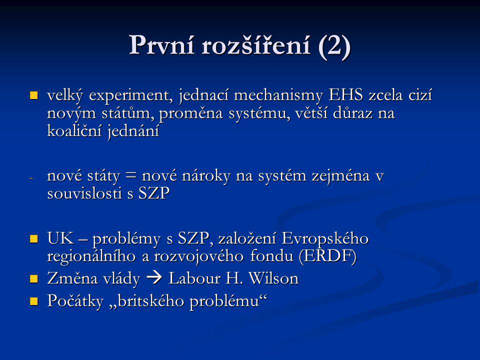 První rozšíření (2) velký experiment, jednací mechanismy EHS zcela cizí novým státům, proměna systému, větší důraz na koaliční jednání velký experimen