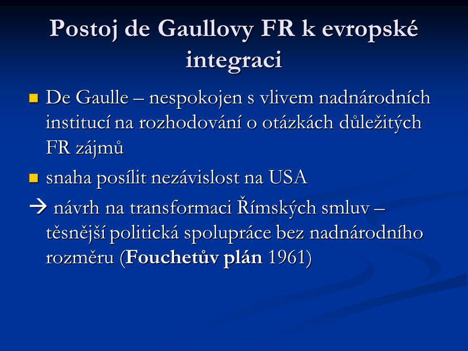 Postoj de Gaullovy FR k evropské integraci De Gaulle – nespokojen s vlivem nadnárodních institucí na rozhodování o otázkách důležitých FR zájmů De Gau