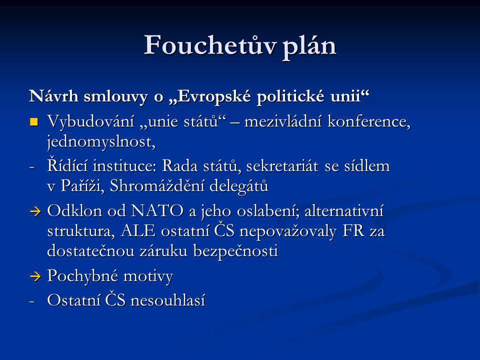 """Fouchetův plán Návrh smlouvy o """"Evropské politické unii"""" Vybudování """"unie států"""" – mezivládní konference, jednomyslnost, Vybudování """"unie států"""" – mez"""