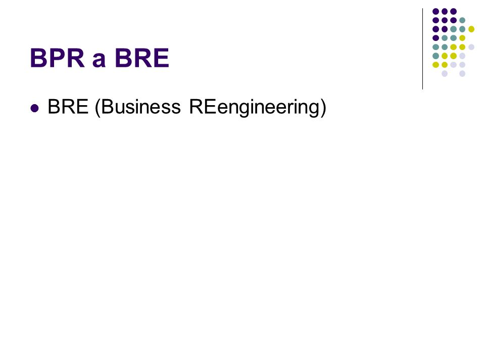 BPR a BRE BRE (Business REengineering)