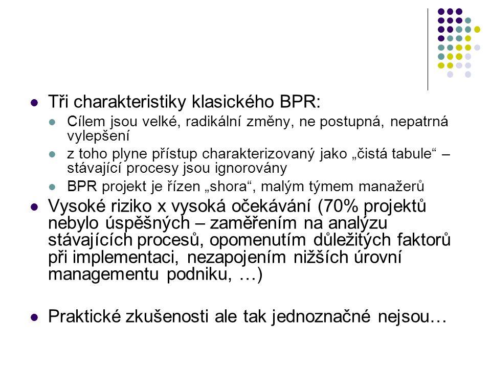 """Tři charakteristiky klasického BPR: Cílem jsou velké, radikální změny, ne postupná, nepatrná vylepšení z toho plyne přístup charakterizovaný jako """"čis"""